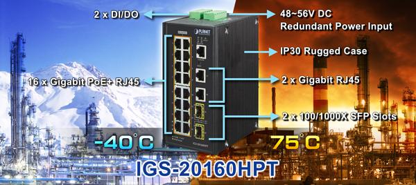 -40~75 D PLANET IGS-501T 5-Port 10//100//1000T Industrial Gigabit Ethernet Switch