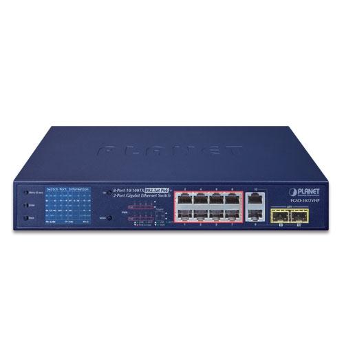 8 PORT FE POE 2 PORT COMBO SWITCH LCD | PLANET FGSD-1022VHP