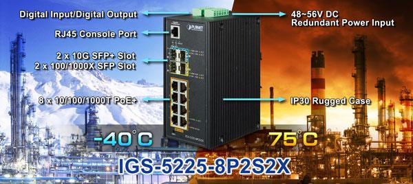 IGS-5225-8P2S2X - DIN-rail L3 Ring Managed Gigabit PoE Switch