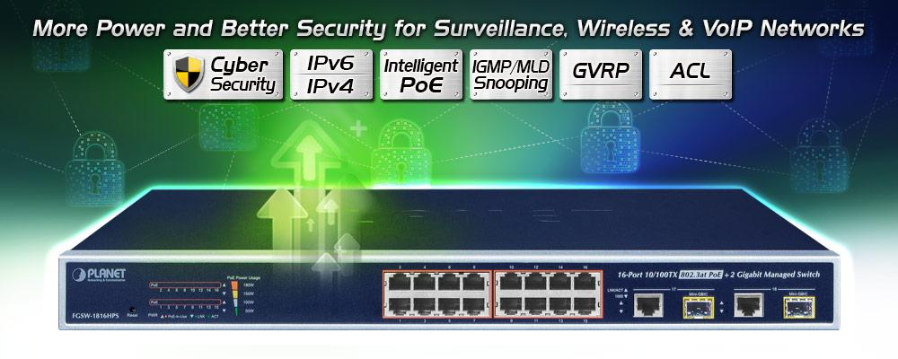 FGSW-1816HPS - L2/L4 Fast Ethernet Switch - PLANET Technology